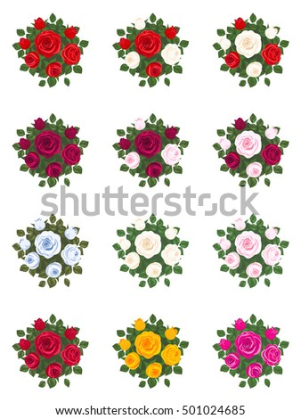 set of bouquets of roses on