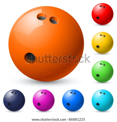 Set of bowling balls. Illustration on white background.
