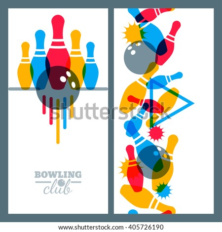 Set of bowling banner, poster, flyer or label design elements. Vertical seamless multicolor background. Abstract vector illustration of kegling game. Colorful bowling ball and pins.