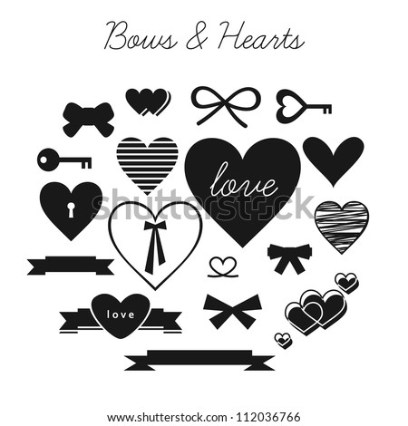set of bows and hearts  vector