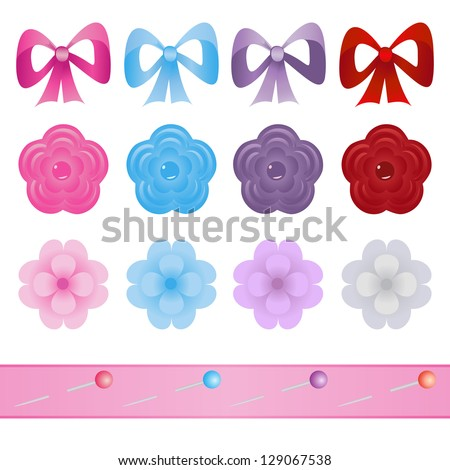 set of bows, flowers and pins for scrapbook - stock vector
