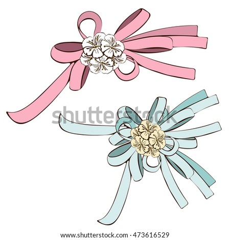 set of bows  pink bow and blue