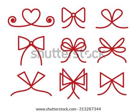 Set of bows, strokes editable