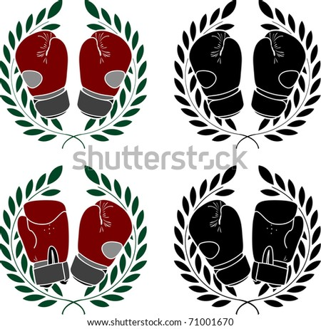 set of boxer gloves. stencils. vector illustration