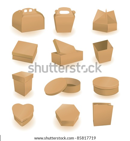 Set of boxes and packages. A vector illustration
