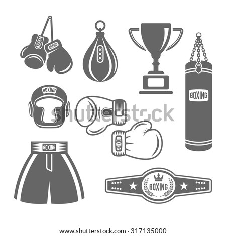 Set of boxing equipment vector monochrome design elements isolated on white background, mix martial arts icons