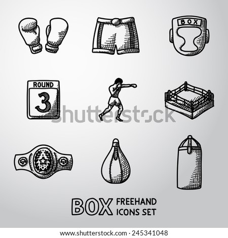 Set of boxing hand drawn icons - gloves, shorts, helmet, round card, boxer, ring, belt, punch bags. Vector