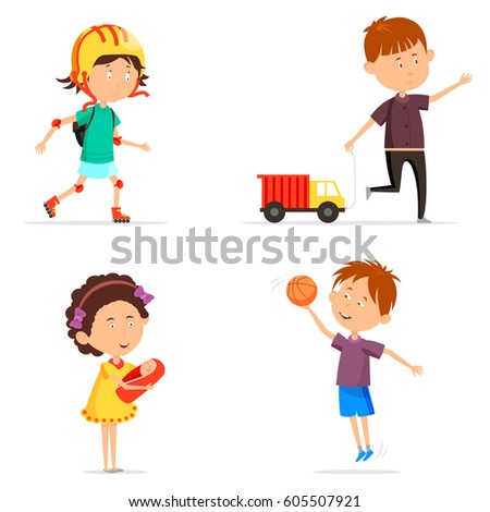 set of boy and girl playing