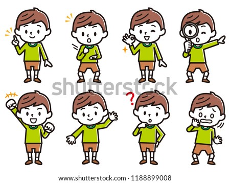 Set of boy's illustration.