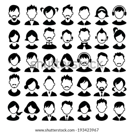 Set of boys and girls avatars and operator icons Vector illustration