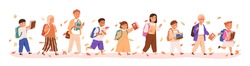 Set of boys and girls going to elementary or middle school vector illustration. Happy pupils holding books surrounded by autumn leaves isolated on white. Collection of children with backpack or bag