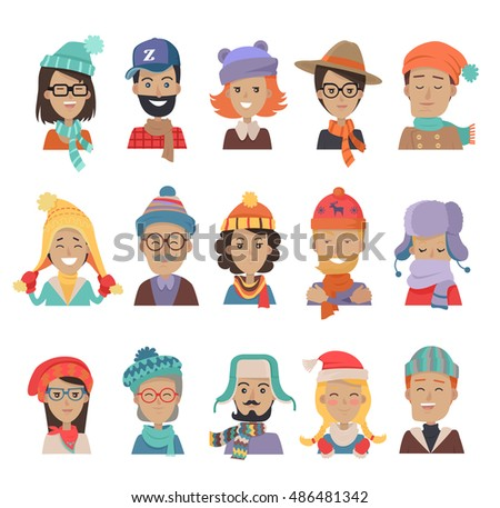 fc33d935d87fa Set of boys and girls in hats. Collection of hats for all seasons. Man