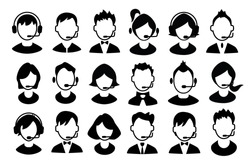 Set of boys and girls operator icons. Vector illustration