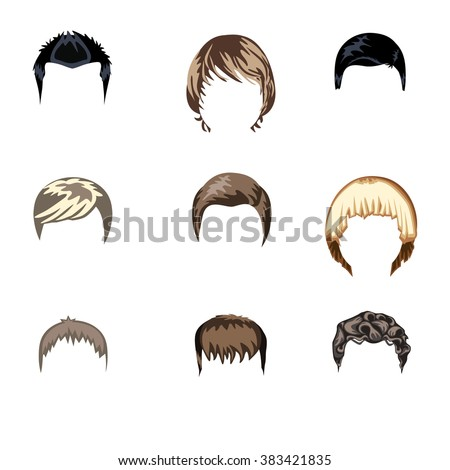 set of boys hairstyle flat