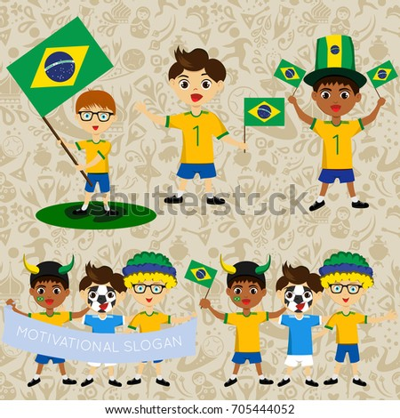set of boys with national flags