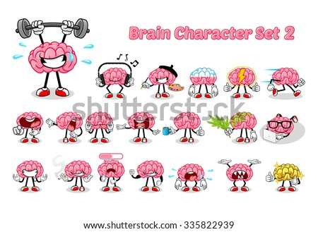 set of brain cartoon character