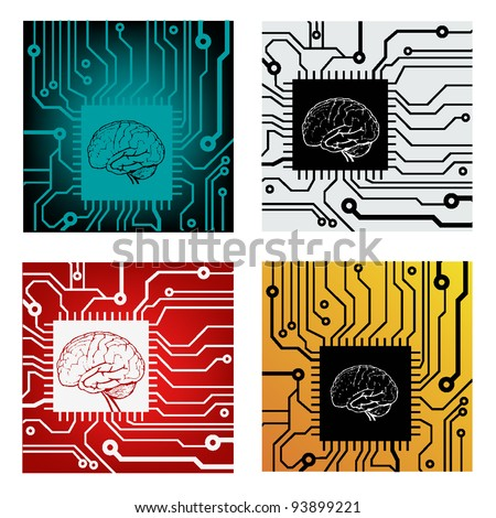 set of brains in circuit style with motherboard. vector illustration