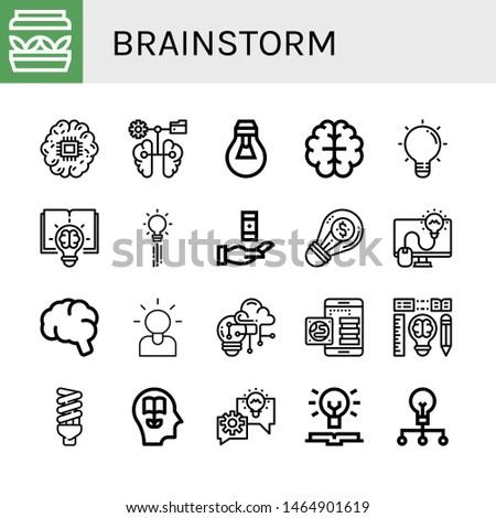 Set of brainstorm icons such as Artificial light, Brain, Lightbulb, Creative, Creativity, Knowledge, Brainstorming , brainstorm