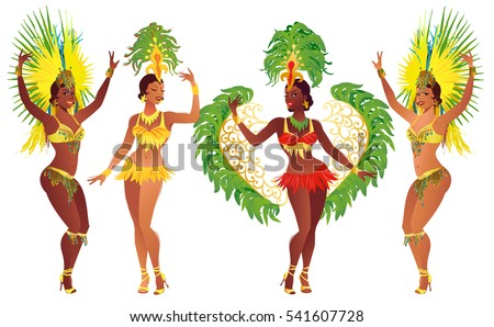 set of brazilian samba dancers