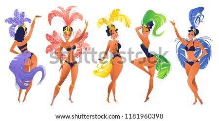 Set of Brazilian samba dancers Vector carnival in Rio de Janeiro girls wearing a festival costume is dancing.