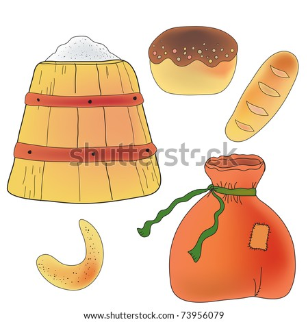 Set of bread, flour and ingredients for baker