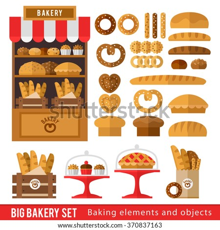 Set of bread products, bakery items, coffee shop elements and bakery showcase. Illustration in a flat style for a bakery or cafe.
