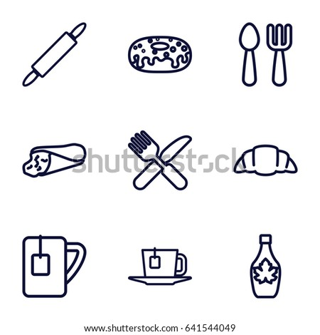 Set of 9 breakfast outline icons such as fork and spoon, wrap sandwich, donut, maple syrup, croissant, fork and knife, tea cup, tea