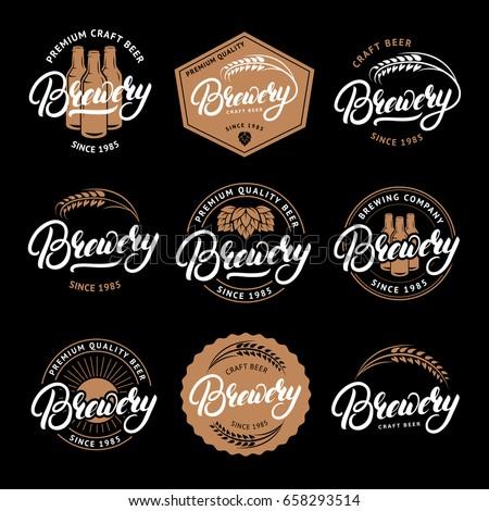 Set of Brewery hand written lettering logo, label, badge, emblem for beer house, bar, brewing company. Hand written lettering. Vintage retro style. Vector illustration.