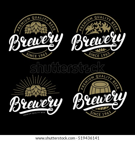 Set of Brewery hand written lettering logo, label, badge template with hop for beer house, bar, pub, brewing company, tavern, wine whiskey market. Black background. Vintage style. Vector illustration.