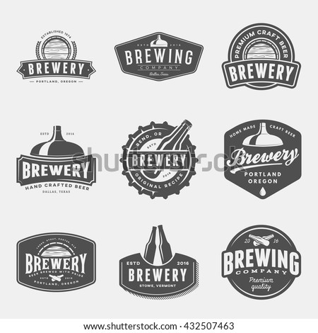 set of brewery labels, badges and design elements. vector illustration Stock photo ©