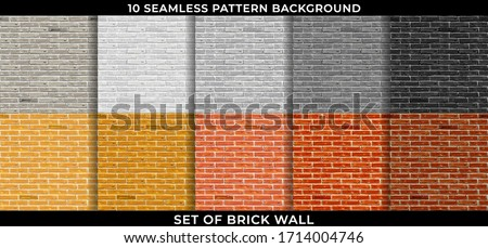Set of Brick wall pattern seamless background.