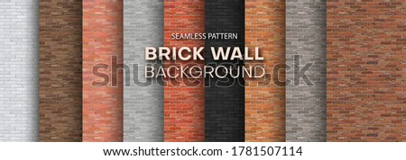 Set of brick walls of different colors. Seamless pattern. Realistic different brick textures collection. Vector illustration