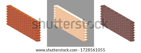 Set of brick walls with cement mortar isolated on white background. Red brick wall. White brick wall. Brown brick wall. Set of colorful isometric walls. Vector illustration. 3D.