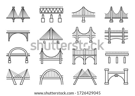 Set of bridges types: beam, truss, cantilever, tied arch, suspension, cable-stayed thin line icons isolated on white. Viaduct, architecture pictograms collection, vector bridges for infographic, web.
