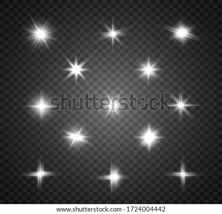 Set of bright beautiful stars. Light effect. Bright Star. Beautiful light to illustrate. Christmas star. White glitter sparkles with special light effect. Vector sparkles on a transparent background.