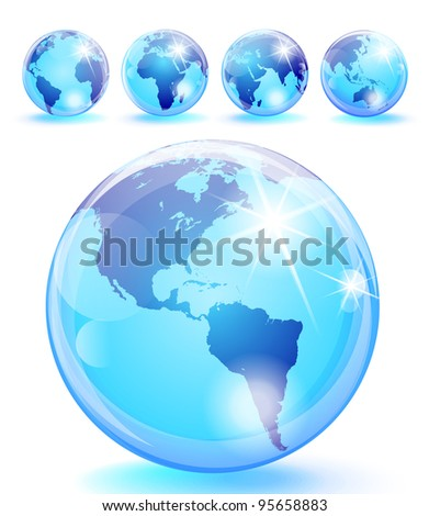 Set of 5 bright blue earth marbles. Eps 10 transparencies used on other than normal blending mode.