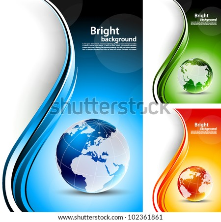 Set of bright color backgrounds with globes