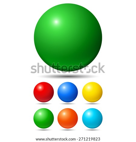 set of bright colored balls