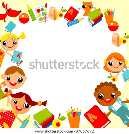 set of bright colorful children holding hands in a circle in the shape of the heart. vector cartoon. - stock vector