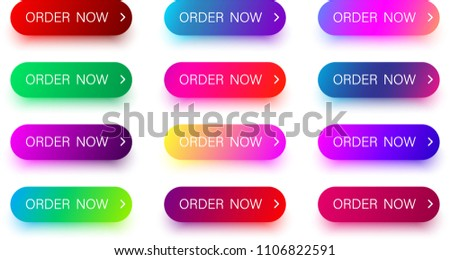 Set of bright colorful order now icons isolated on white background. Vector illustration.
