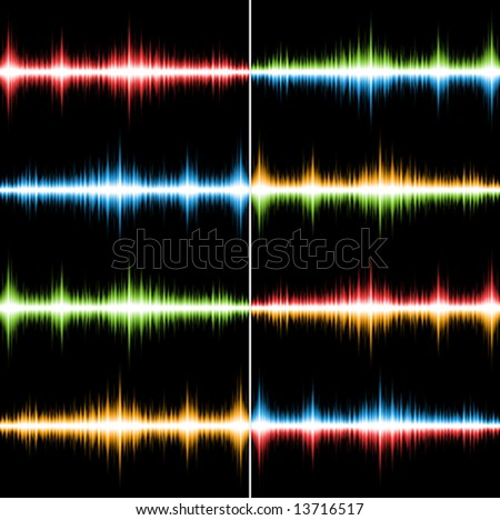 Set of 8 bright coloured seamless music patterns (Vector)