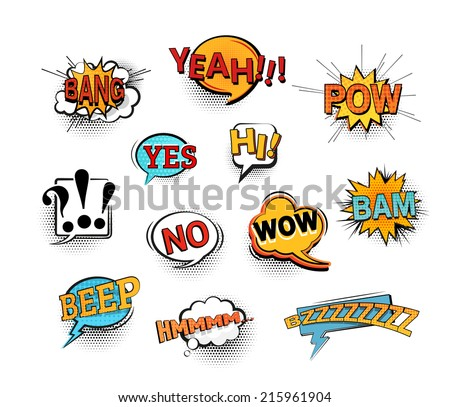Set of bright cool and dynamic comic speech bubbles for different emotions and sound effects. EPS10 vector image.