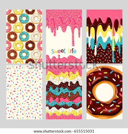 Set of bright donut cards. Set of donuts with pink, chocolate, white, yellow, blue mint glaze. seamless pattern, background, card, poster. Template for design