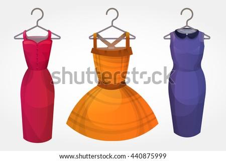 Set of bright dresses on hangers Stock foto ©