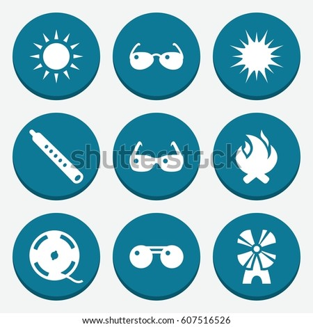 set of 9 bright filled icons