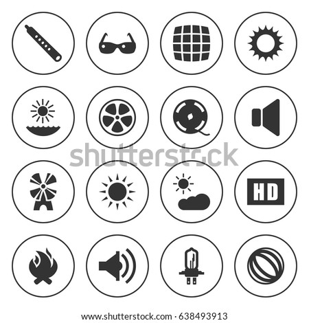 set of 16 bright filled icons