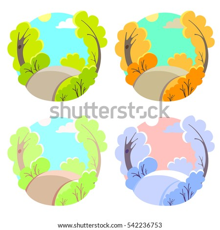 set of bright flat vector