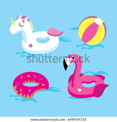 set of bright floats in the pool ( unicorn, flamingo, doughnut, ball)