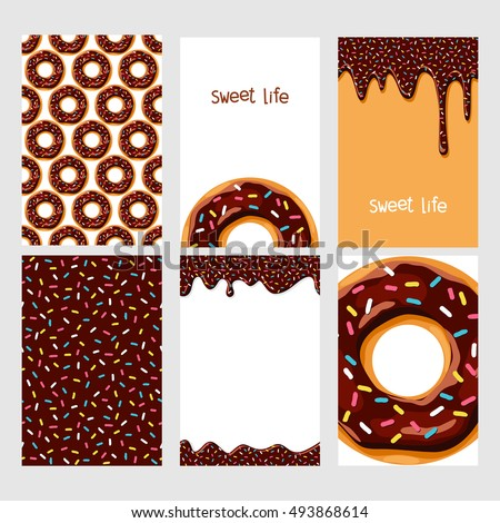 Set of bright food cards. Set of donuts with chocolate glaze.  Seamless pattern, background, card, poster. Template for design.