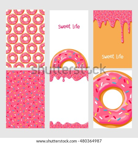 Set of bright food cards. Set of donuts with pink glaze. Seamless pattern, background, card, poster.
